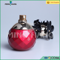 100ml round shape perfume glass bottle with red color