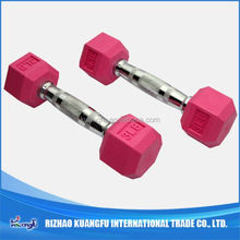 Chromed handle fixed rubber hex dumbbell