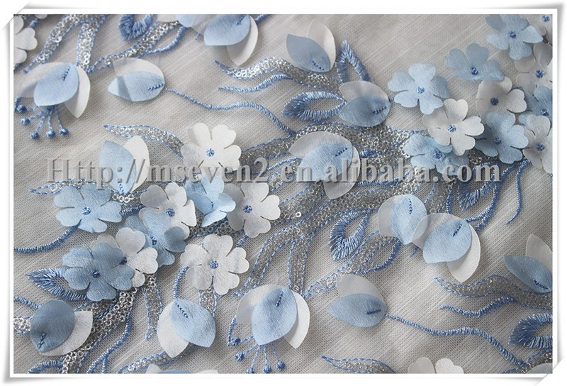Lastest Soft 3D flowers Embroidered Wedding Lace Fabrics flower applique fabric with sequins