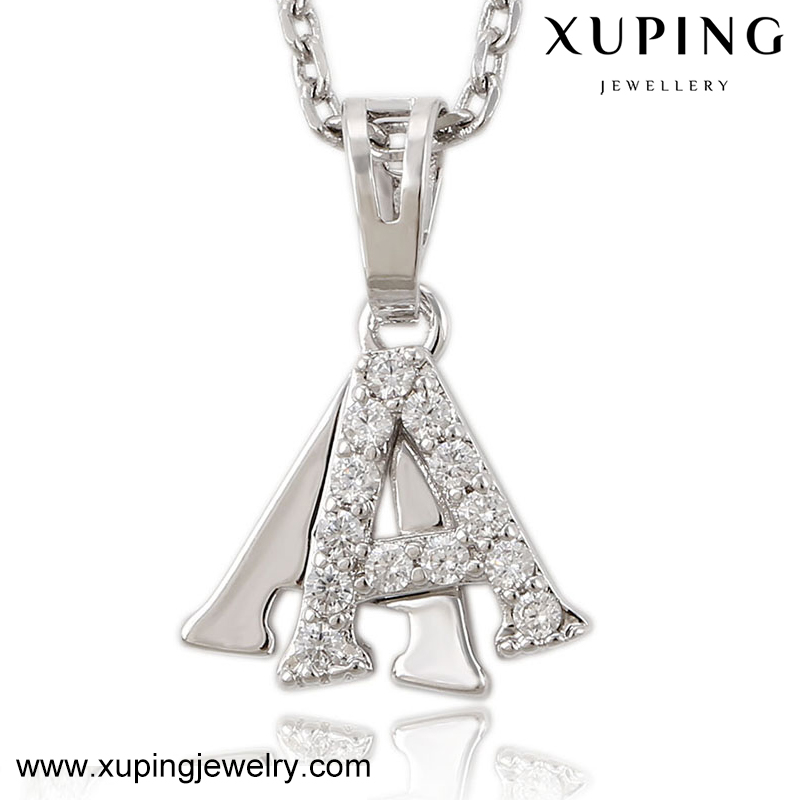 32560 XUPING letter alphabet diamond pendant,different words inlayed stone designs white gold charms,aliexpress jewelry