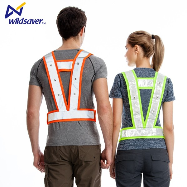 High visibility mesh Night Work Safety Vest with LED lights