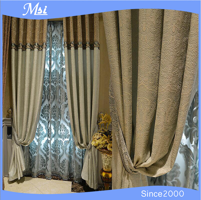 Luxury Five Star Hotel 100% Polyester Fire Retardant Blackout Curtain