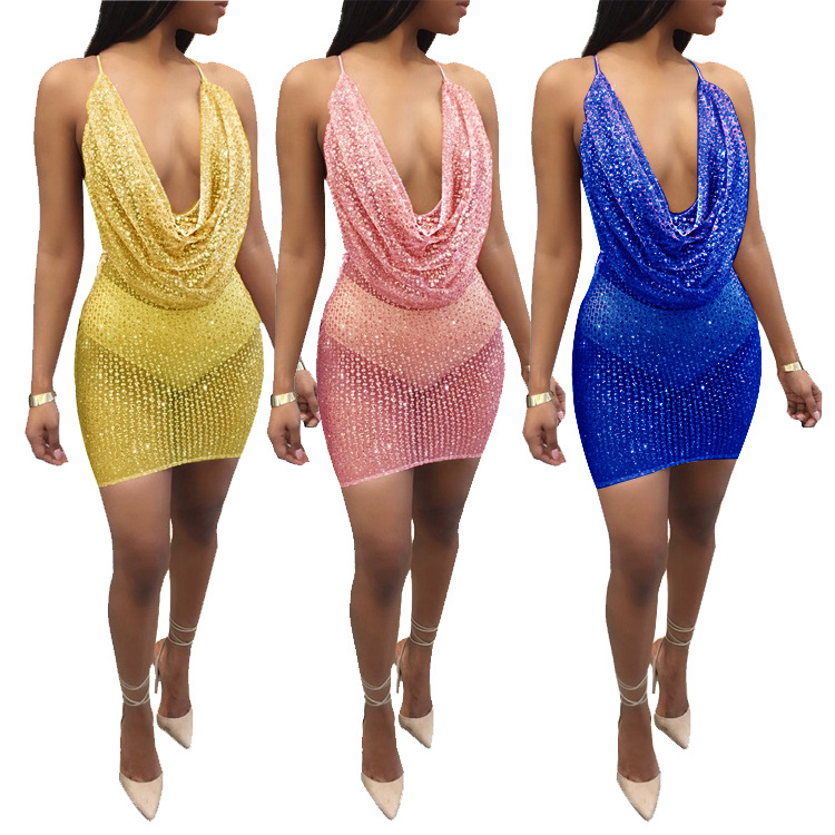 Shiny Solid Color Woman Backless Sexy Dress Party Nigerian African Dress Styles