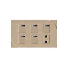 New products 5 gang 1 way electrical wall lighting switch and 4-pin 2 socket