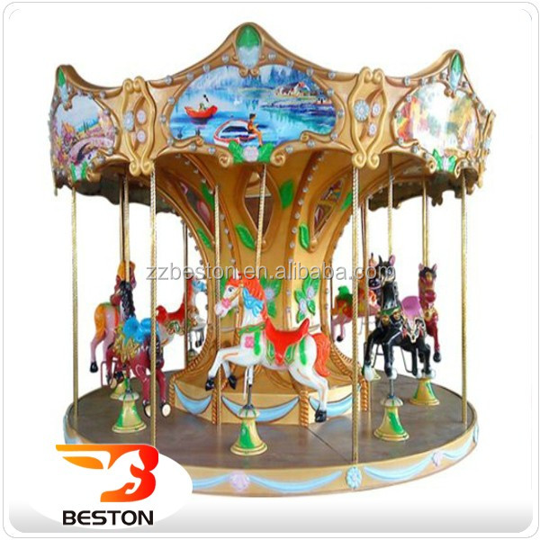 Attractions outdoor funfair games rotary 12 seats luxury carousel horse rides for kids