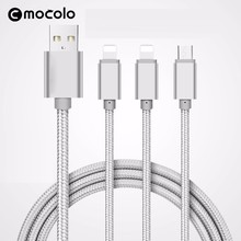 Mocolo 3 IN 1 Micro USB Cable For Android Nylon Brainded Type -C Usb Charging Cable Wire For Iphone 6 6s Plus 7 7Plus