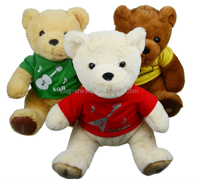 Stuffed animal cute teddy bear with printing logo clothes