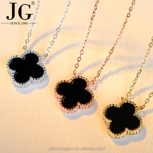 3 colors Gold Filled Black Stone Pendant Top Quality hot selling Four Leaf Clover Necklaces 925 sterling silver jewelry