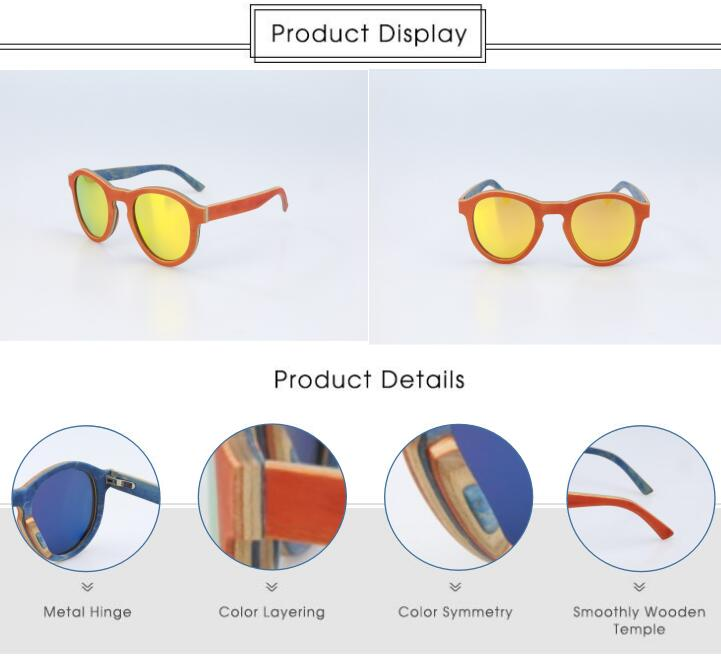Best selling cheap wholesales in china CE polarized custom engraved Round skateboard wood sunglasses for women and kids sunglass