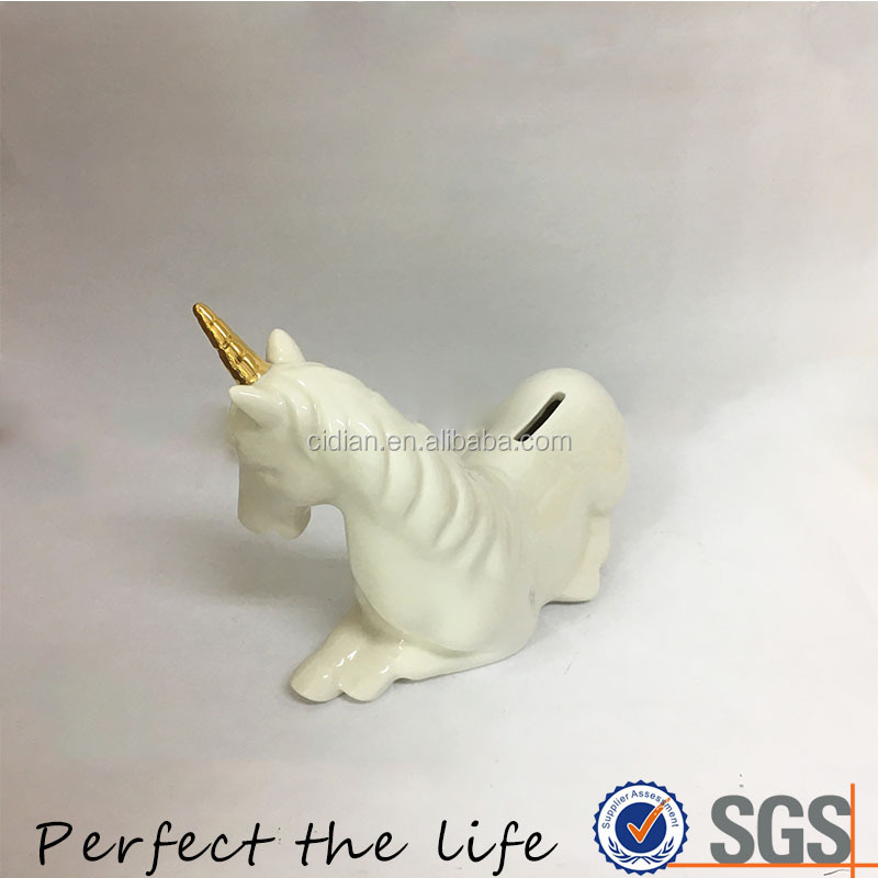 Ceramic White Unicorn design Money Box, Piggy Bank