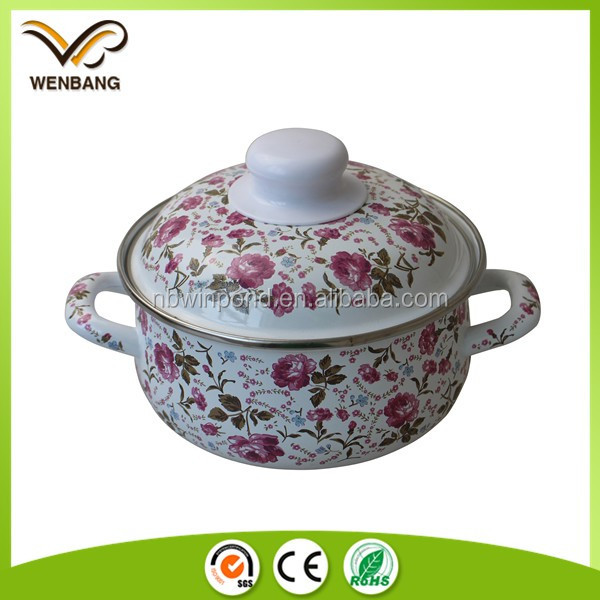 Full flower decal printing enamel coated steel cookware