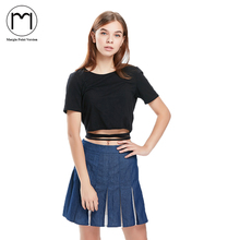 2018 ladies Denim Pleated Mini Skirt hot Jeans Short skirts women High Waist Skater etek falda
