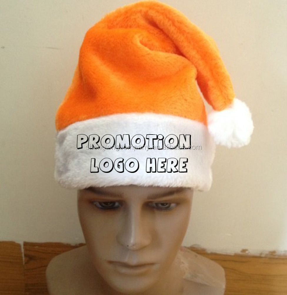 WD1535-1 promotional plush team santa hat with custom embroidery logo ORANGE color