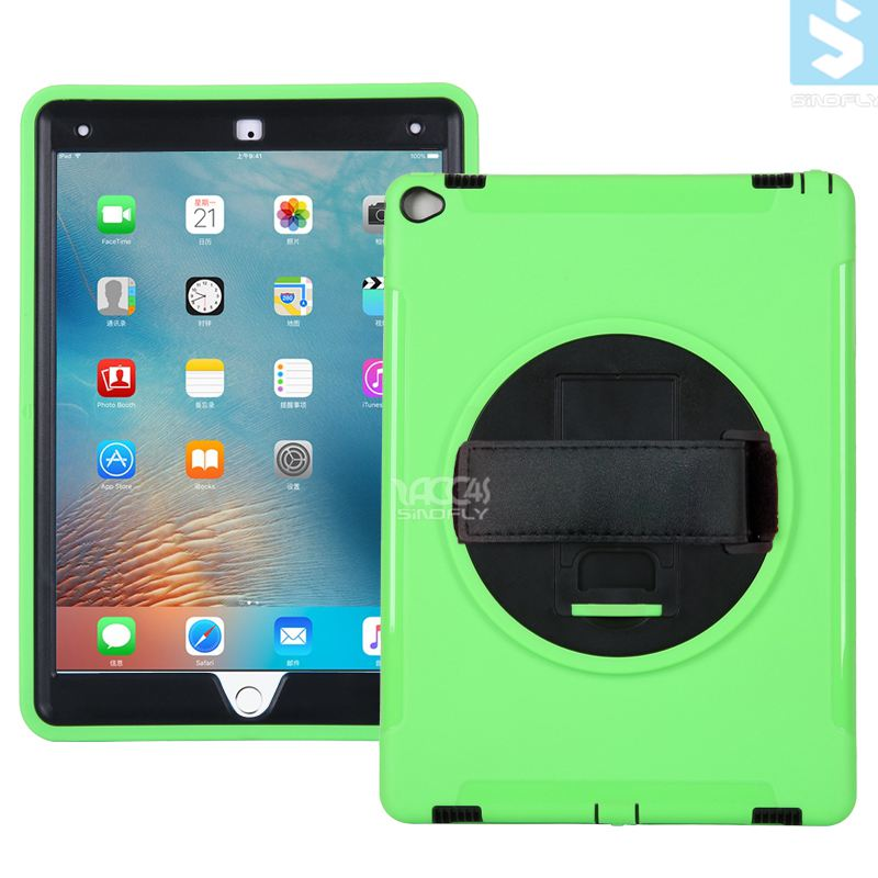 Hot-selling 360 Rotation Anti Shock Kick Stand Case for ipad pro 12.9 with Leather Hand Strap
