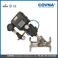 pneumatic angle seat shut off valve with positioner
