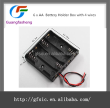 4AA Battery Holder Box with 4 wire leads