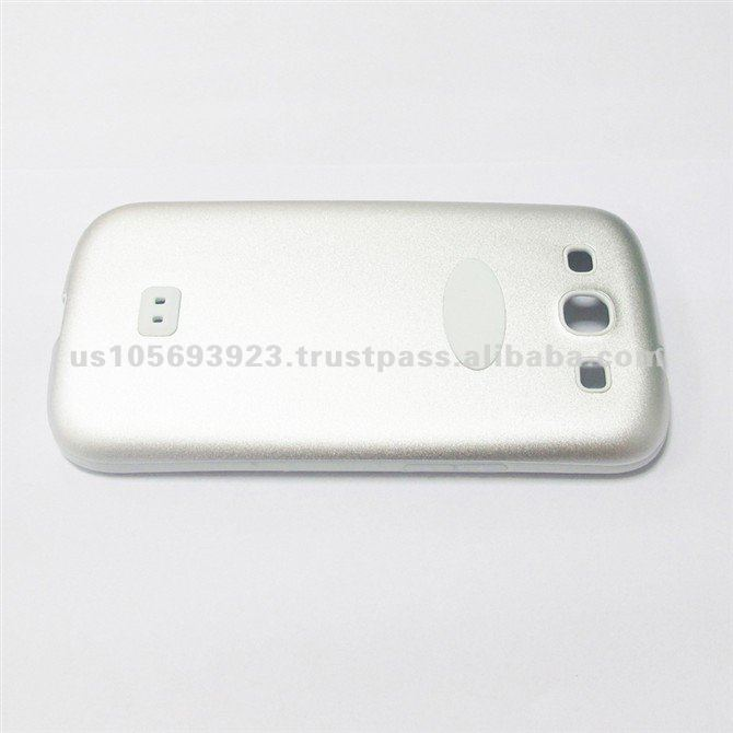 Pure White Simple Design Silicon and Aluminum Mobile Phone Cover for I9300