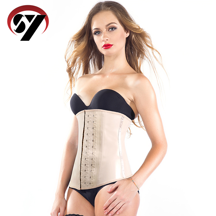 Wholesale In Stock black latex waist trainer 3 strong hook 100% rubber slimming training corset