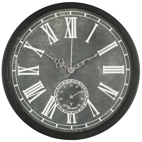 "12"" old style wall clock/ indoor wall thermometer/ roman numerals metal wall clock"
