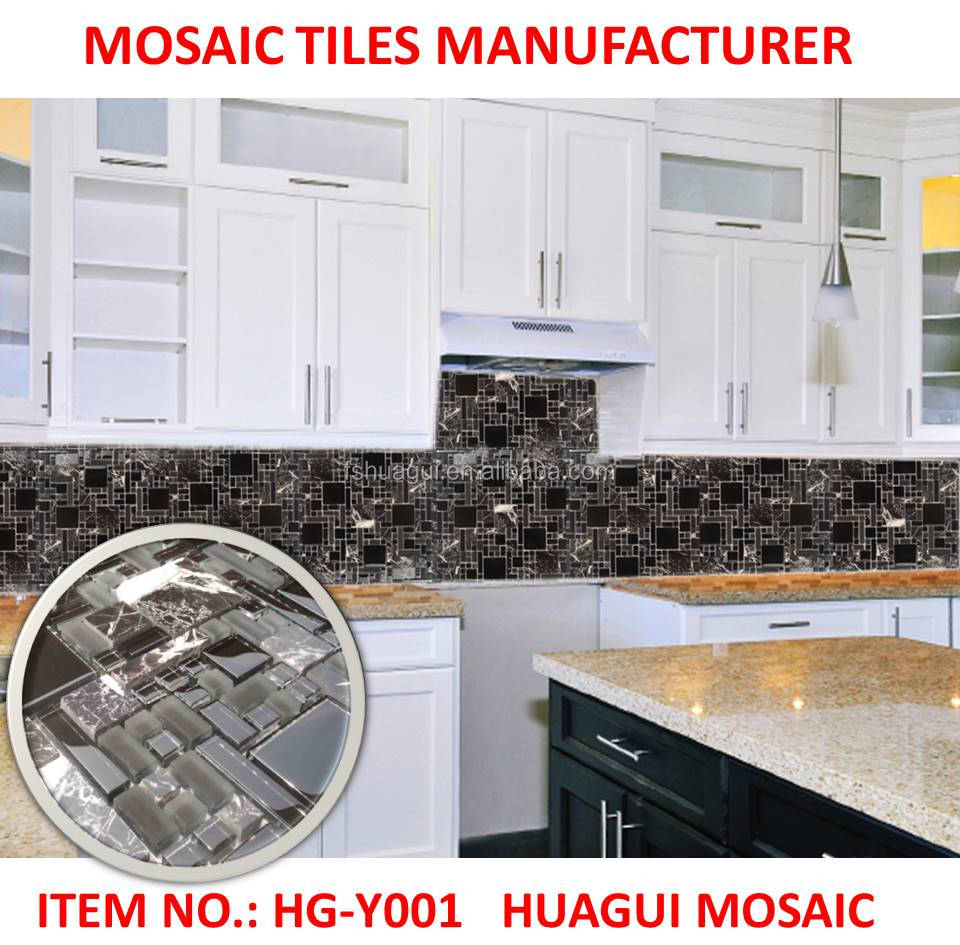 Black Glass ceramic marble mosaic polished wall tiles