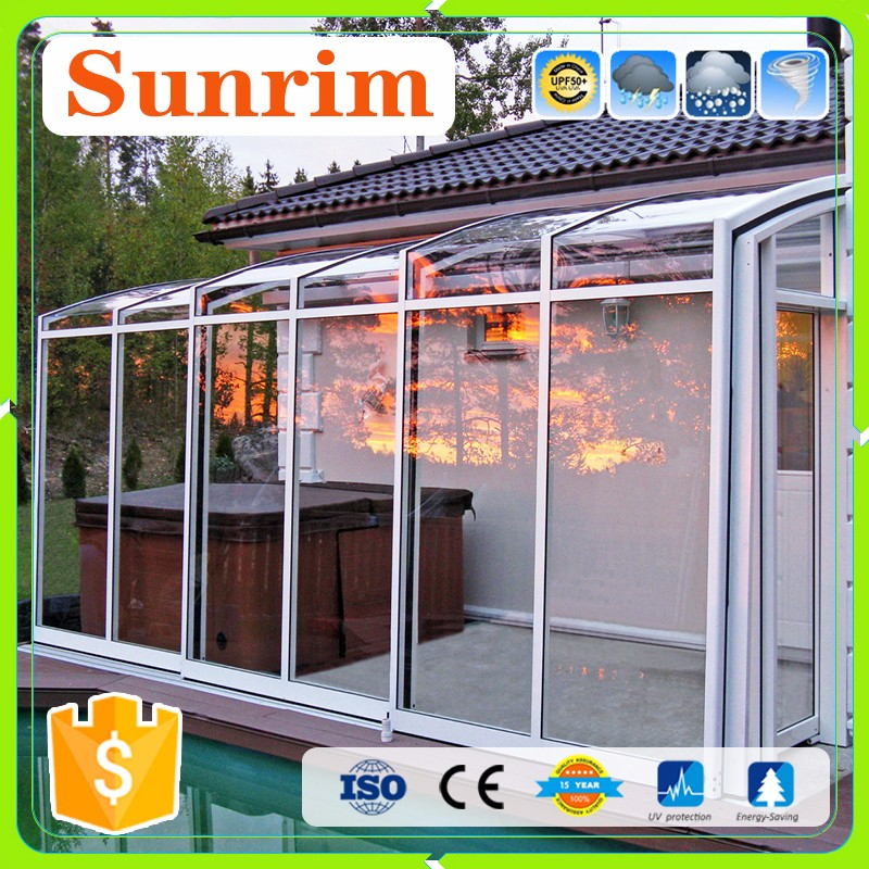 strong prefabricated polycarbonate house aluminum patio enclosure attached to fascia