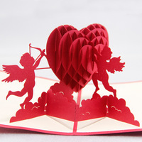 Cupid Hearts hollow paper-cut three-dimensional greeting cards Mid teacher greeting postcard manufacturers manufacture