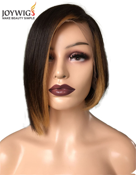 Hot Selling Wholesale 100%  Human Hair Wig 10in 130 Density Ombre Color Lace Front Wig with Bob Style