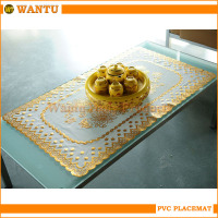 WT-605A Jinhua Fucun Shentangwu Wantu Hot-stamping Wholesales Table Cover Gold PVC Mats