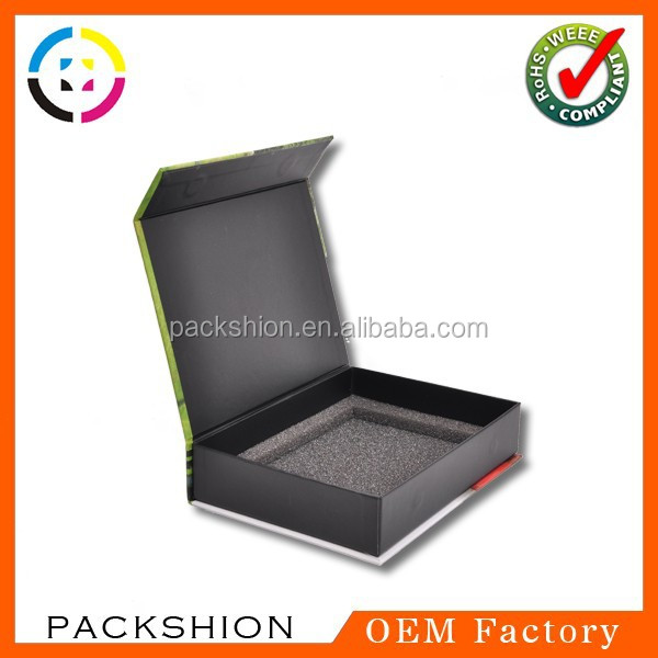 Book shaped paper board black gift box from alibaba China supplier