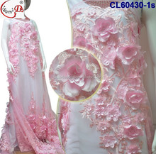 Luxury 3d Flower laceCL60430-1polyester lace Chowledee hot sale baby pink Girls evening dress with beads in stock