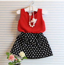 cheapest price summer girls chiffon tops with dot polka skirt girls boutique clothing set beautiful girls clothing suit