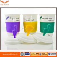 Non paper coffee cup silicone coffee cup sleeve with lid