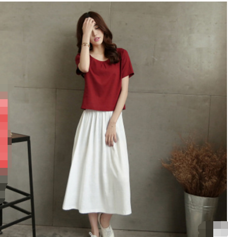 MS53242W loose linen t shirt and dress