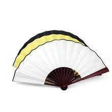 high quality carved bamboo hand fan with two side printing silk folding hand fan