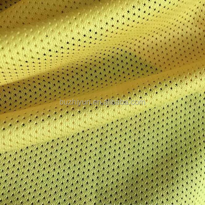 dry fit sports shirt fabric polyester FDY smooth tricot knit eyelet mesh textile net fabric