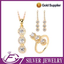 2 gram white cz stone 925 sterling silver plated gold jewellery sets