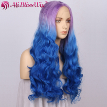 "Cosplay 22"" Long Natural Wavy Heat OK Fiber Hair Middle Part Purple Roots Ombre Grey Blue Two Tone Front Lace Synthetic Wig"