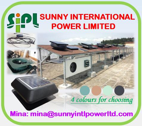 Solar panel solar air conditioner AC electricity support 24 hours working day and night work Solar Air Circulation vent kits Fan