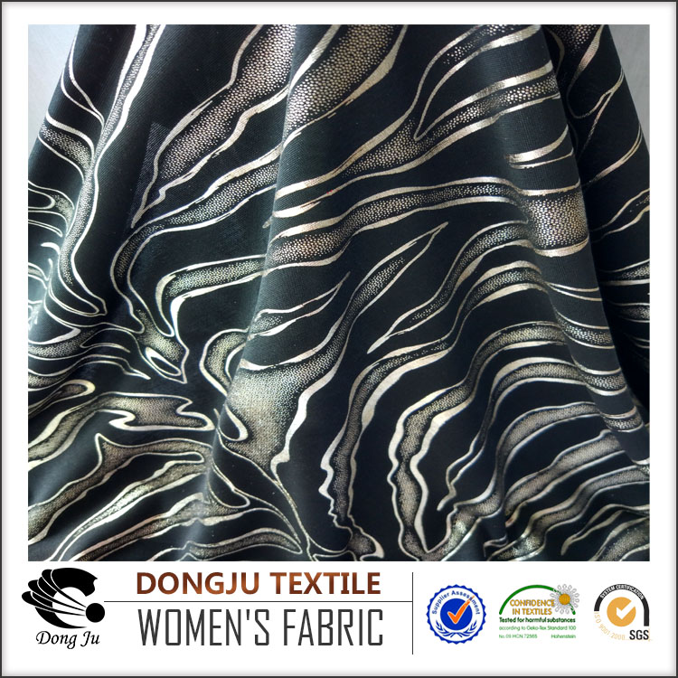 Dongju textile polyester DTY foil white and gold fabric