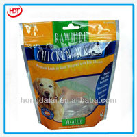 premium stand up pet dog chicken wrapped food plastic bag with ziplock