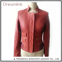 Custom shopping women red PU leather jacket with best price
