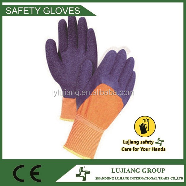 Enhanced cut 10 gauge natural latex coated work gloves