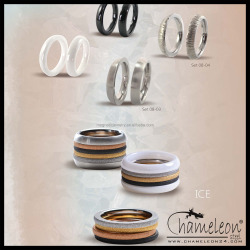 Chameleon Ice Surface Stacking 316L Stainless Steel Rings Jewelry, Set of 4 Rings