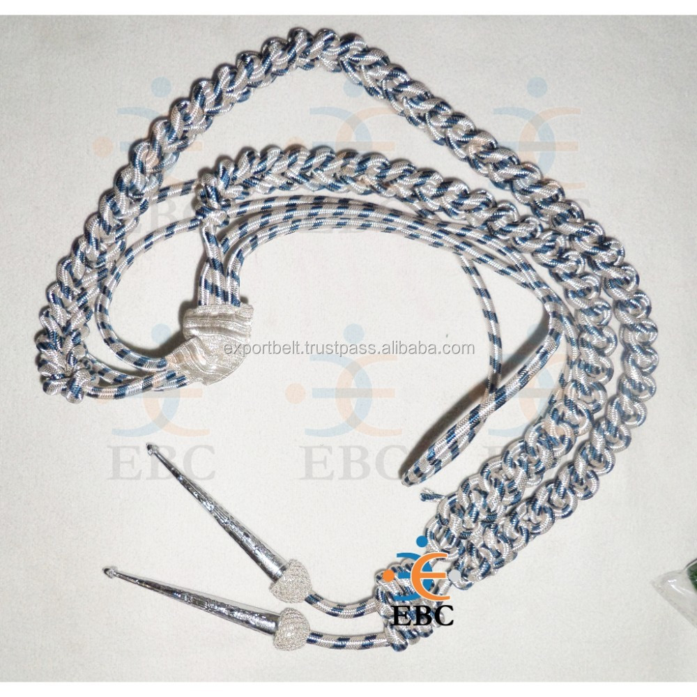 Aiguillette Silver Wire with blue Cord Army with metal tips, silver wire aiguillette