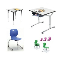 School furniture educational furniture classroom chair and desk sets double seat bench table