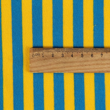 yellow and blue stripe spun velvet fleece fabric in shaoxing factory