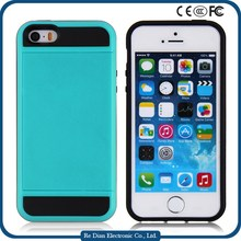China Suppliers Fashional Phone Case Cover Luxury PC +TPU Mobile Phone Case For iPhone5 with Credit Card Holder