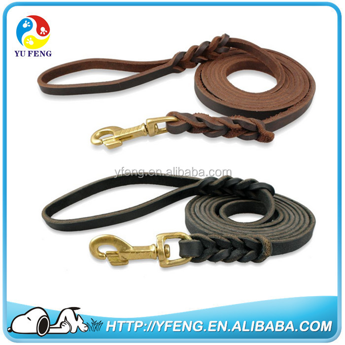 Braided Genuine Leather Dog Leash Training for Medium Large Dogs Especially for German Shepherd Brown Black dog Walking Lead