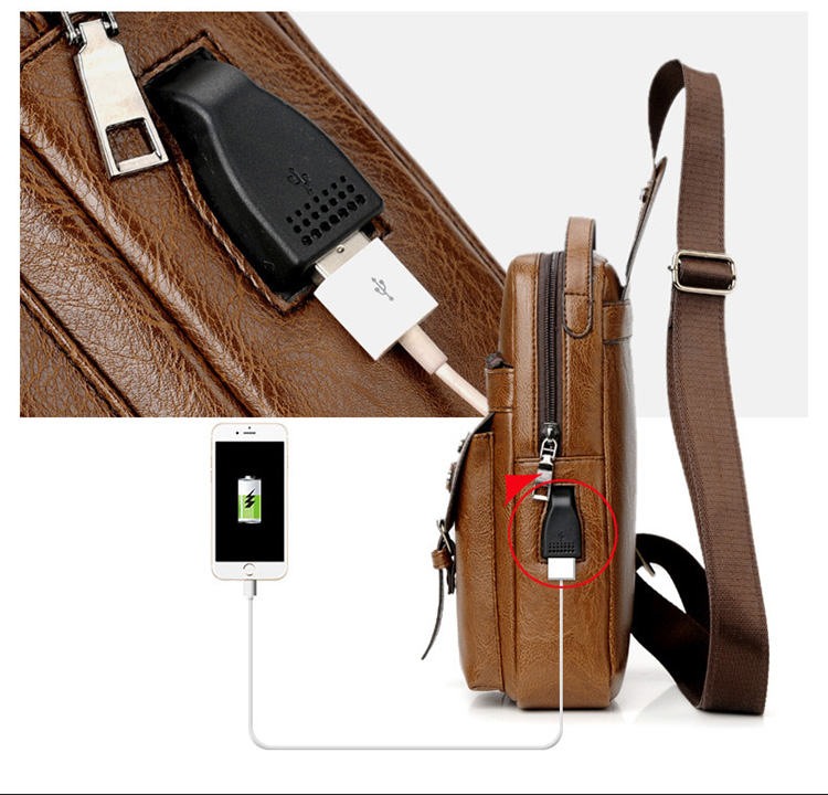 Custom Waterproof PU Leather messenger Chest bag shoulder Smart Crossbody Men Sling Bag with USB charging port