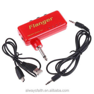 Red And Blue Flanger Miniature Portable Headphone Guitar AMP Amplifier